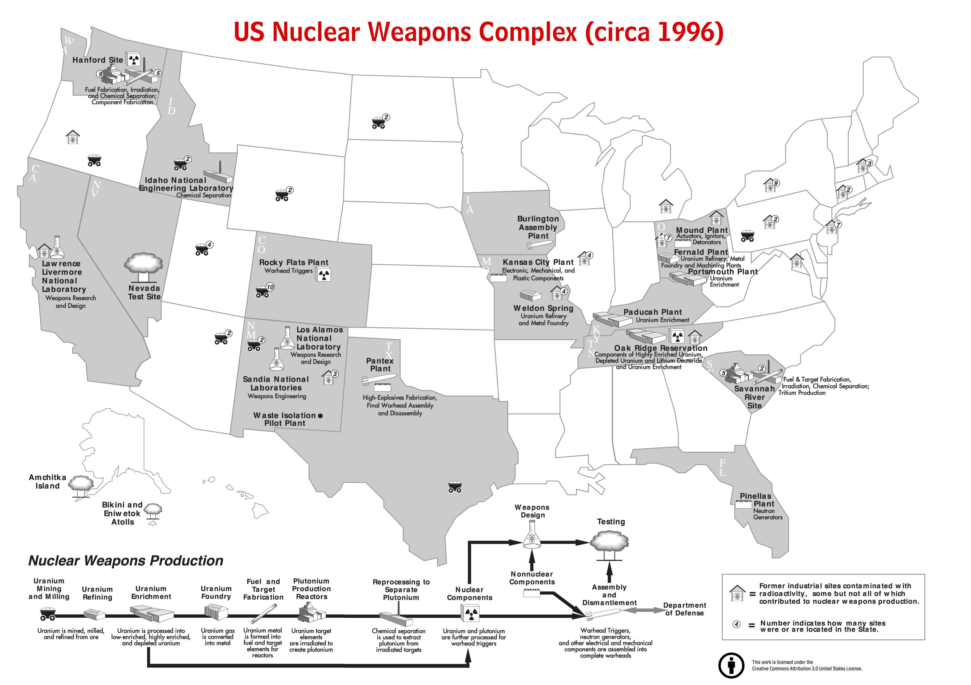 Map Of US Nuclear Weapons Complex DrRyanMccom - Us nuclear weapons map